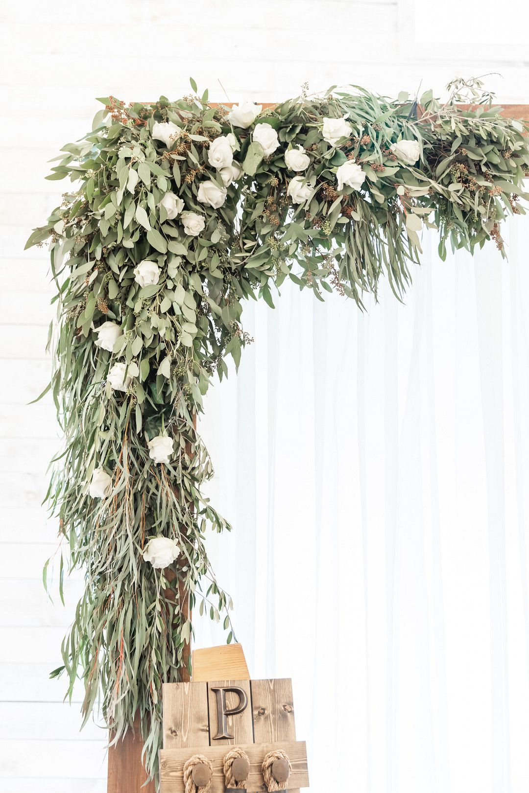 winter wedding altar with flowers