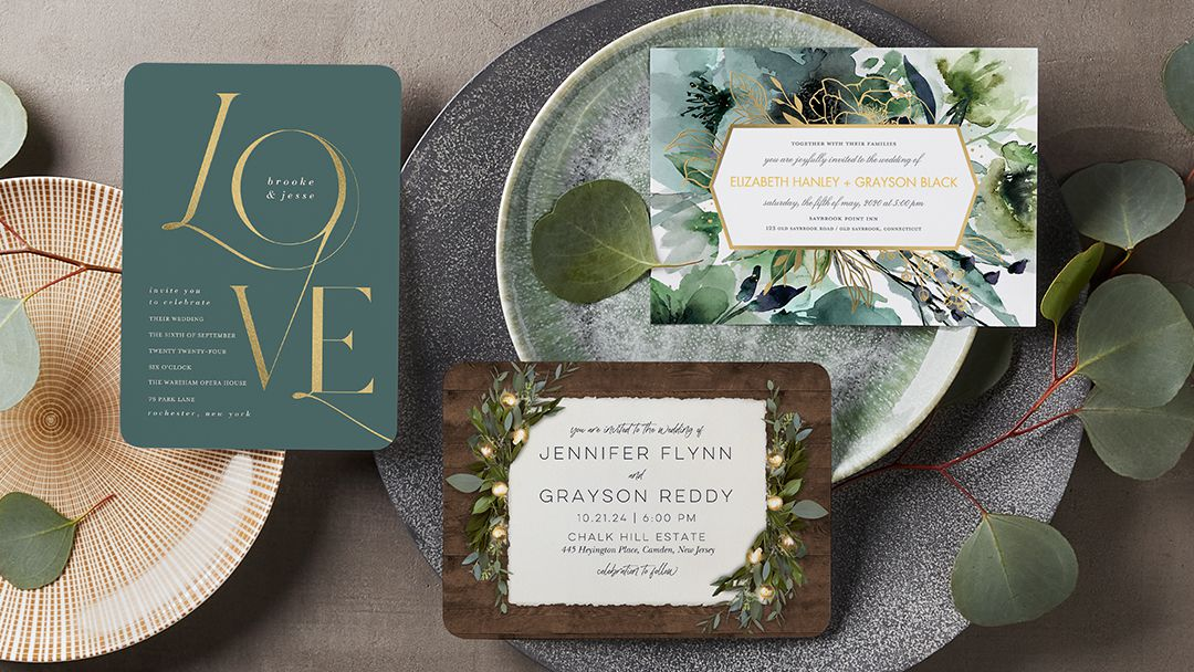 green wedding invitations from the wedding shop by shutterfly