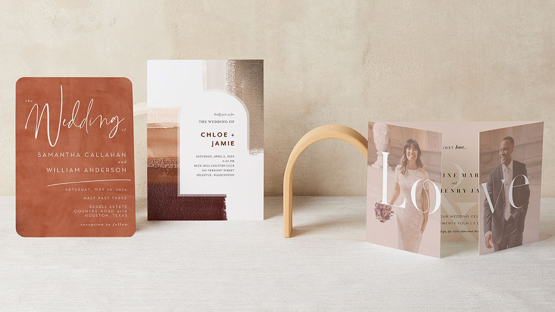 terracotta colored wedding invitations from the wedding shop by shutterfly