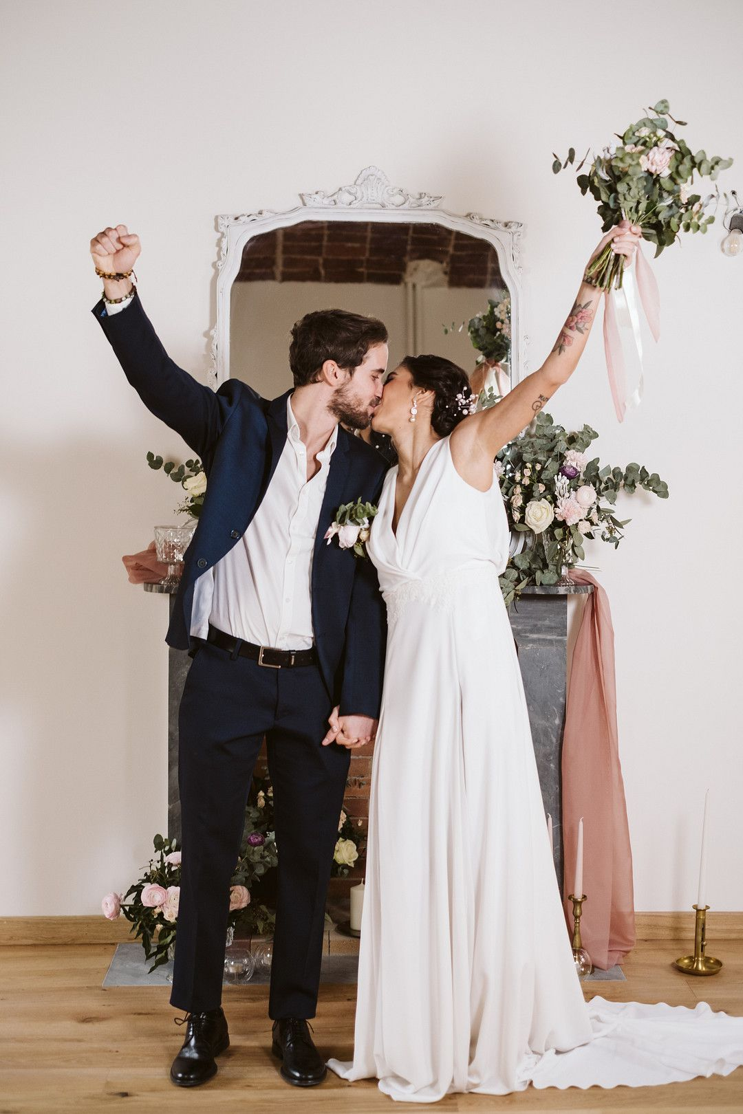 bride and groom kissing at their at home elopement