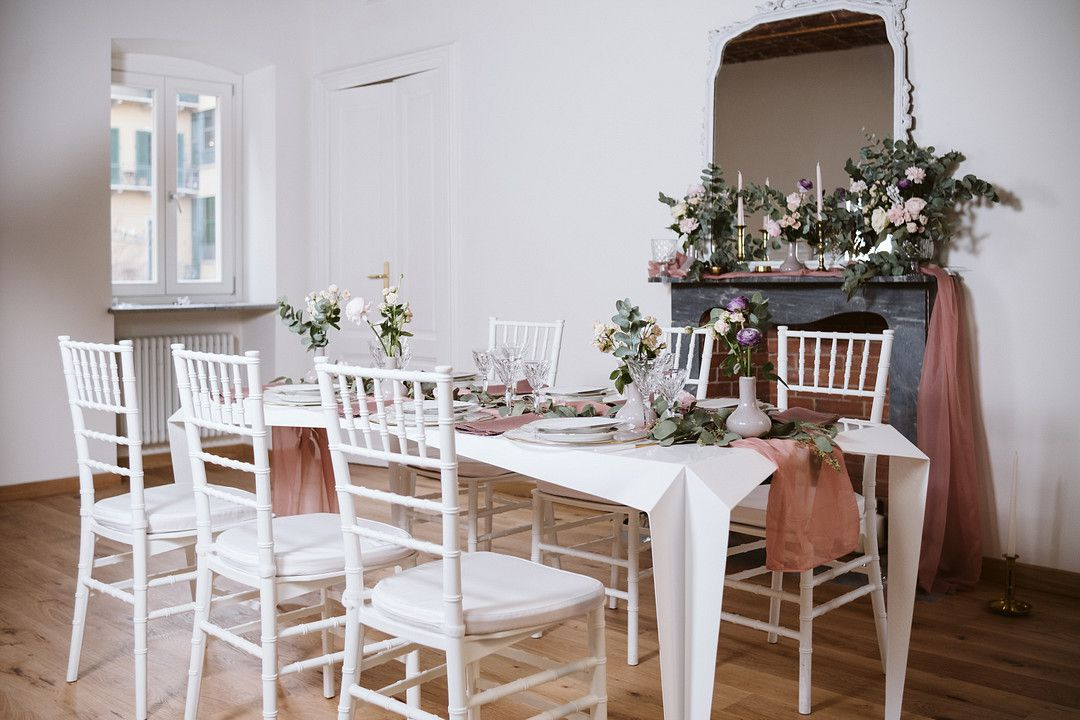at home elopement wedding table