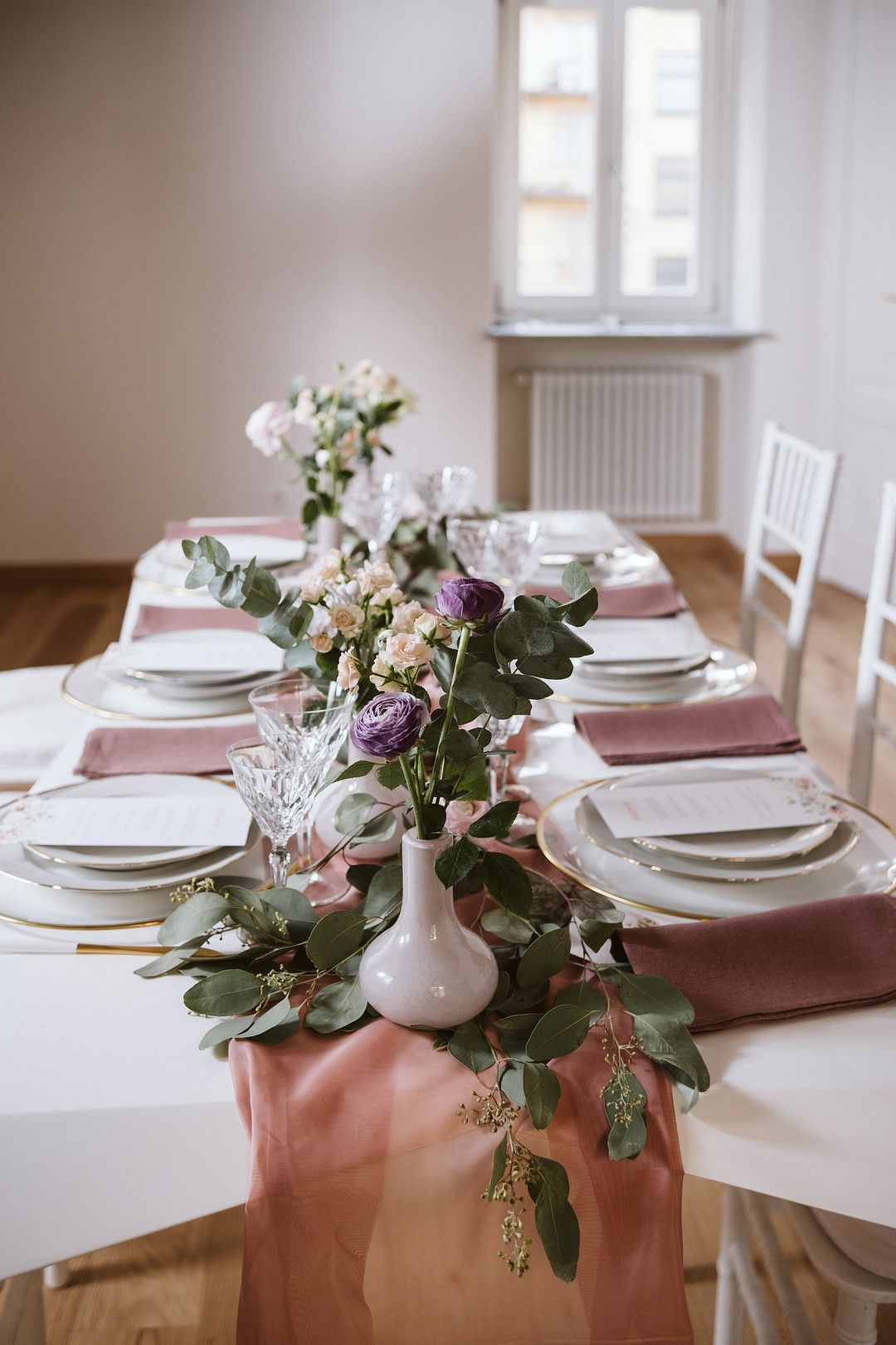 at home elopement wedding tablescape