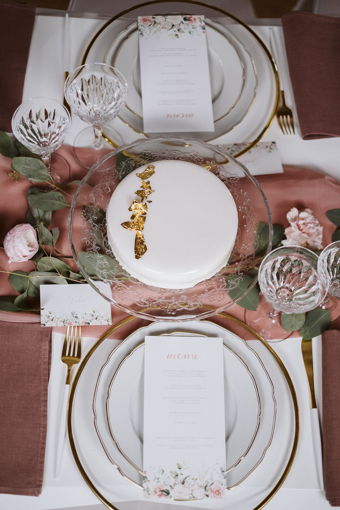aerial view of wedding tablescape