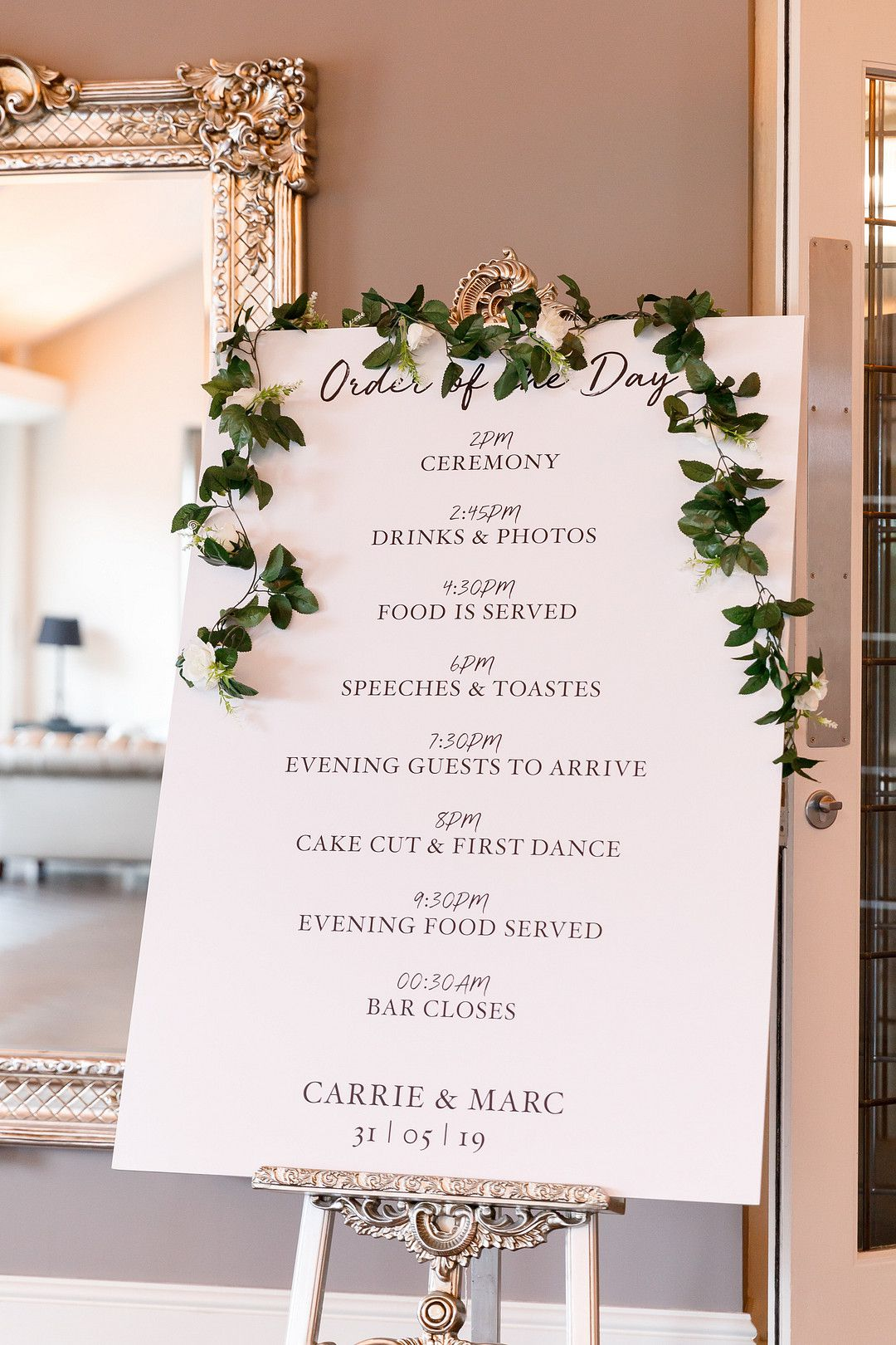 elegant summer wedding itinerary sign
