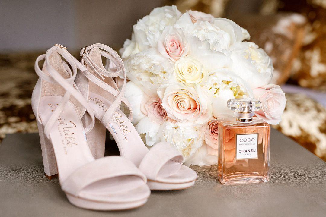 wedding heels and bridal bouquet