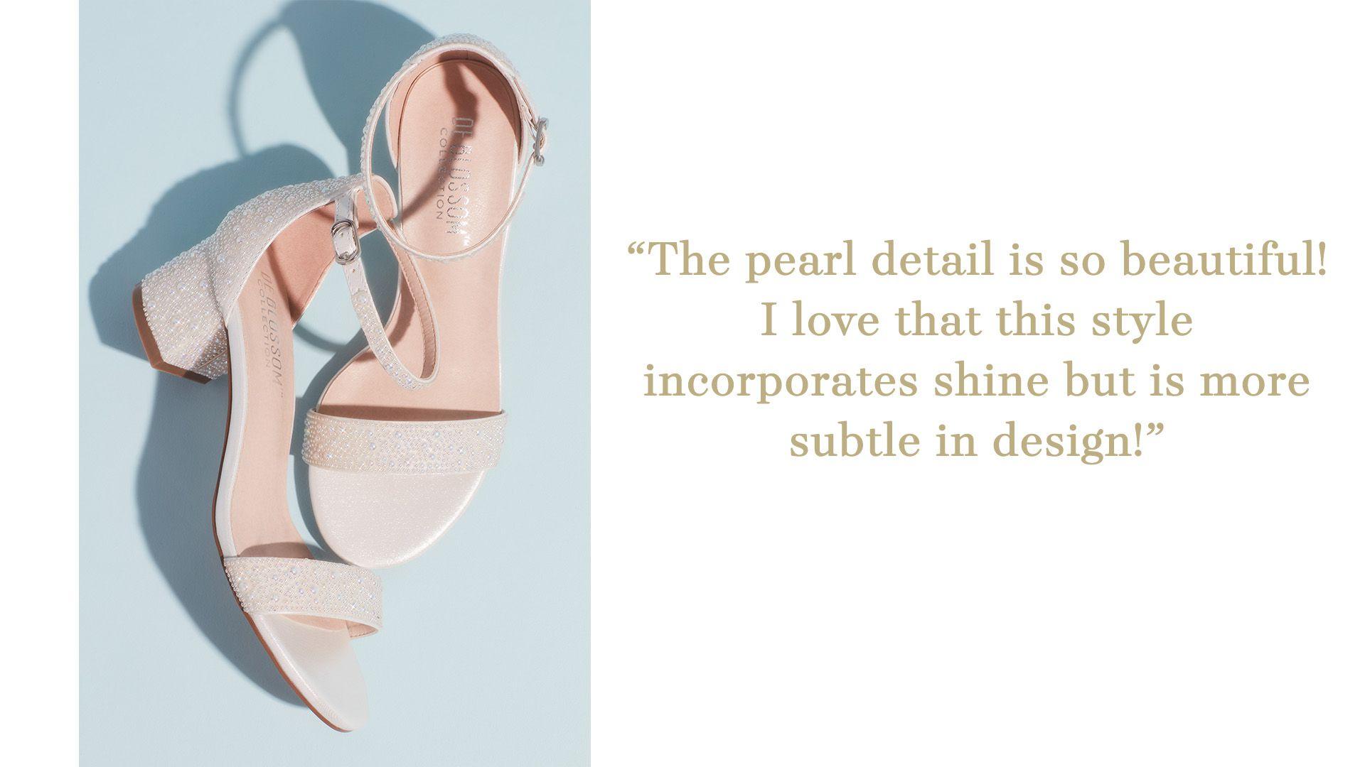 iridescent pearl embellished block heel wedding shoes