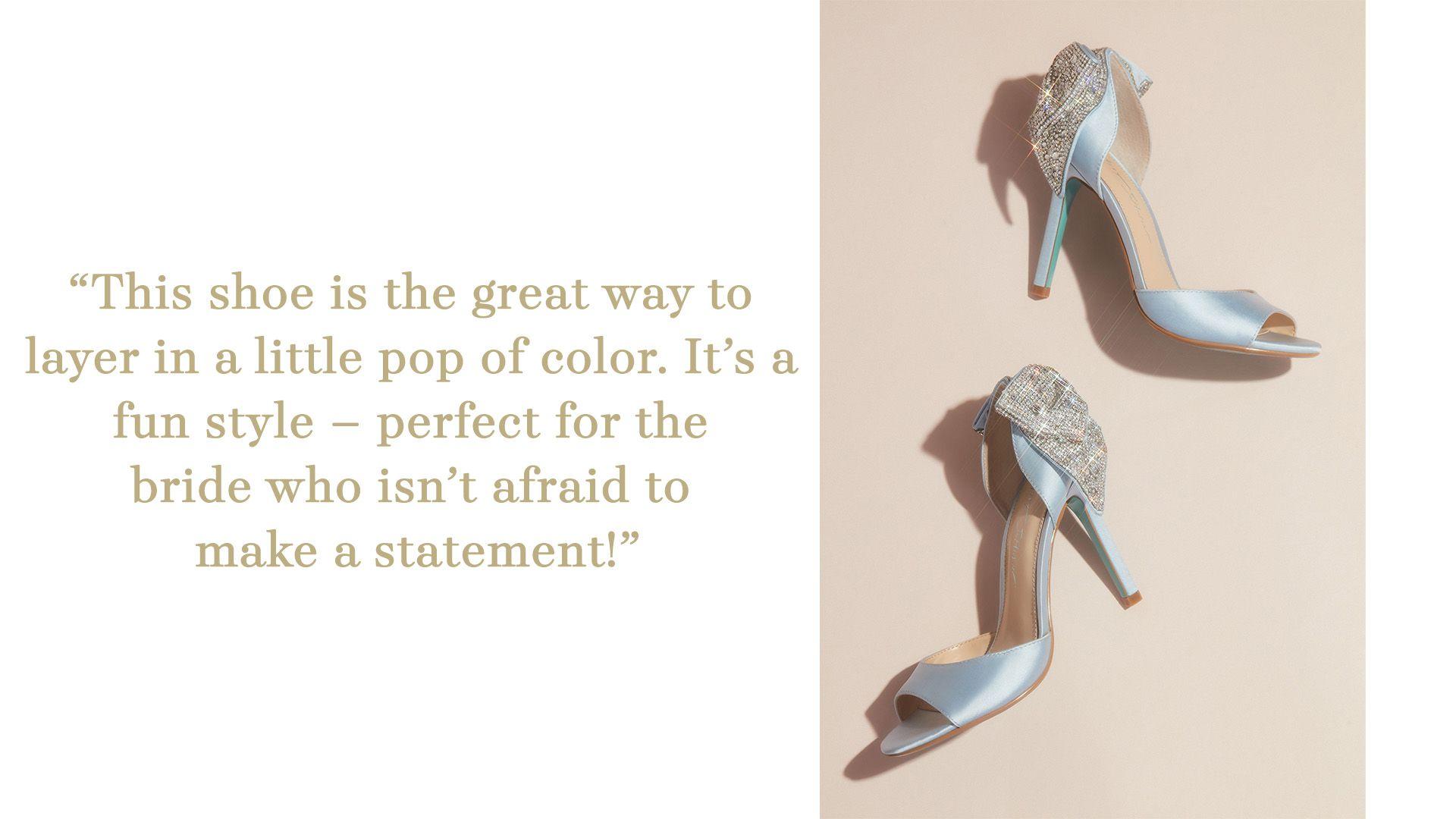 satin peep toe with embellished bow wedding shoe
