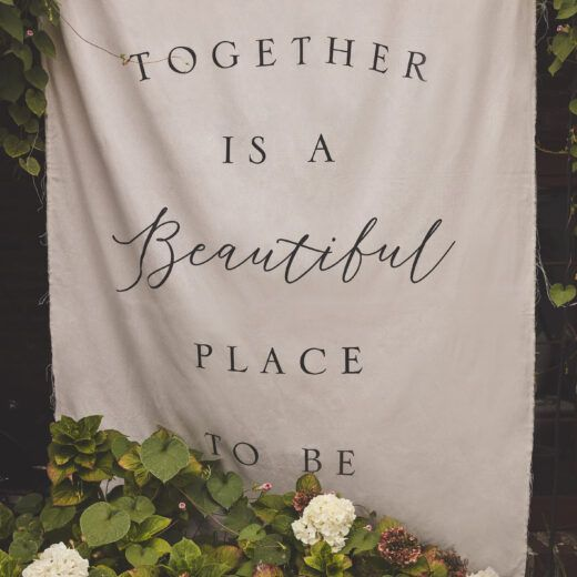 """""""better together"""" banner for your ceremony and reception decor"""