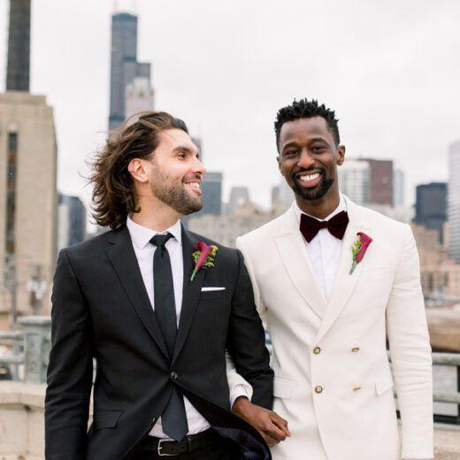 grooms smiling
